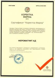 Sertifikat Korektna firma
